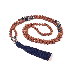 Handmade Rudraksha and Lapis Lazuli Insight Mala Coiled