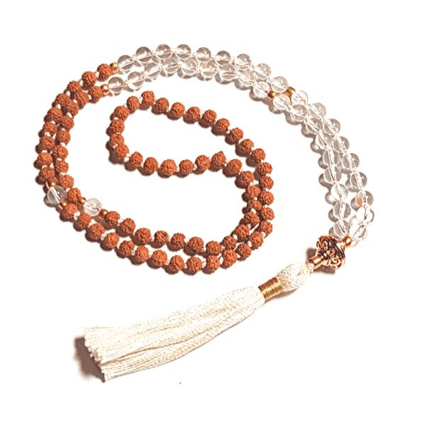 Handmade Quartz and Rudraksha Energising Mala Yoga Bead Necklace