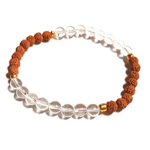 Handmade Energising Quartz and Rudraksha Beaded Bracelet for Women