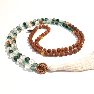 Amplification handmade mala with Malaysian Jade Quarta and Rudraksha Seeds curled