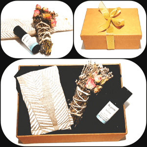 Recharge Gift Box showing close up of items, the wrapped box and items laid on table