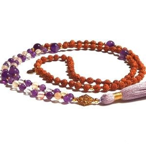 Reflection mala amethyst, rudraksha and touReflection mala amethyst, rudraksha and tourmalinated quartzrmalinated quartz