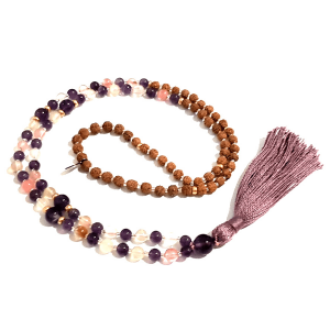 Resilience Amethyst and Tourmalinated Quartz Handmade Mala Curled