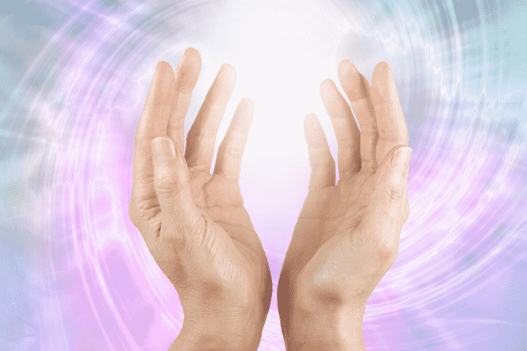 Hands holding a visual representation of energy