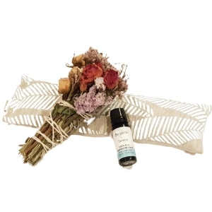 Recharge Gift Box Items including eye pillow, floral smudge stick and essential oil