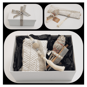 Relaxation Gift Box showing close up of items, the wrapped box and items laid on table