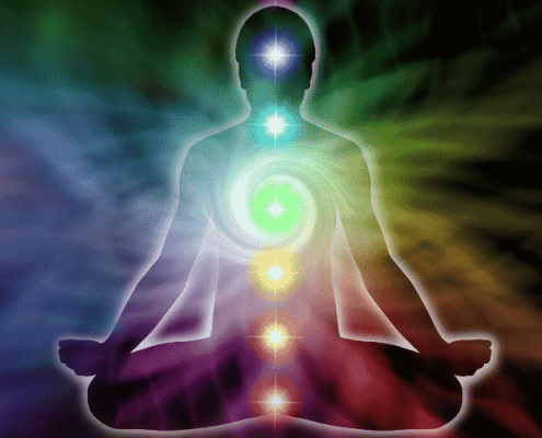 Chakra points and colours shown on sitting figure