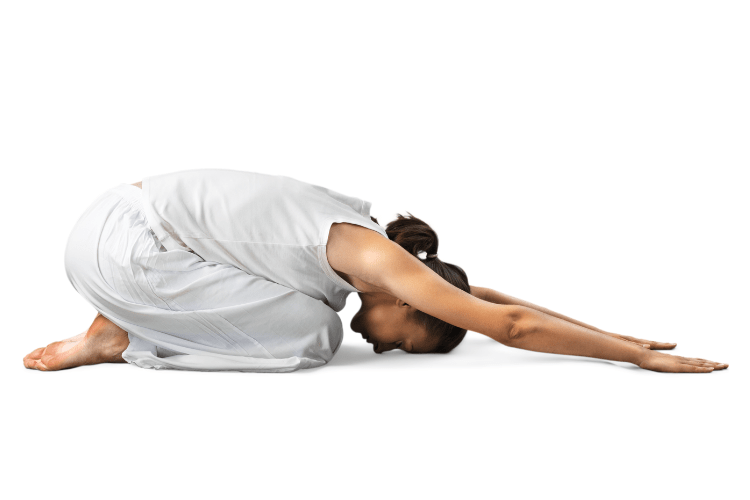 Women in childs yoga pose