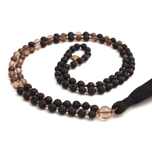 Handmade Smokey Quartz and Lava Earthing Mala curled on table