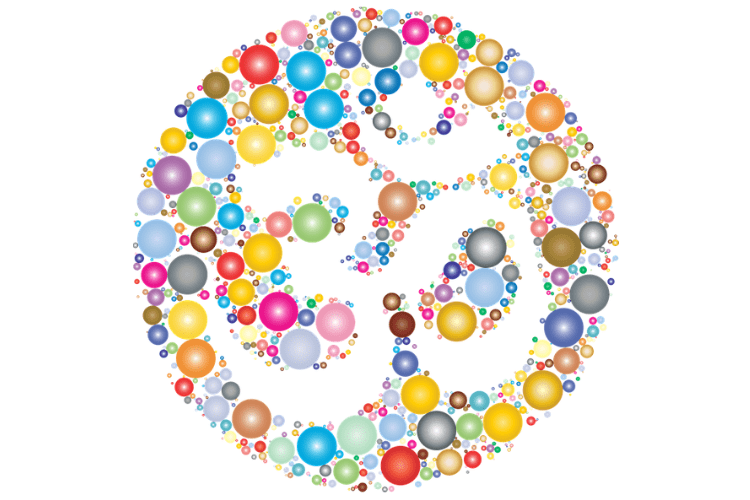 Om symbol created in silhouette by coloured circles