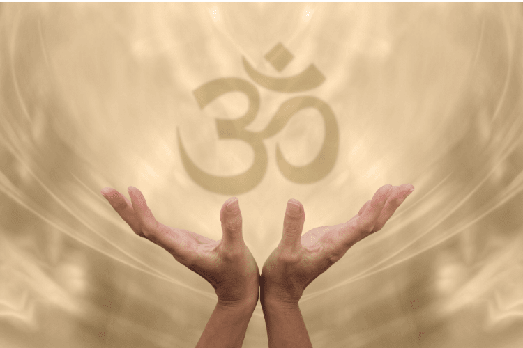Om symbol with hands spread underneath against a watery background