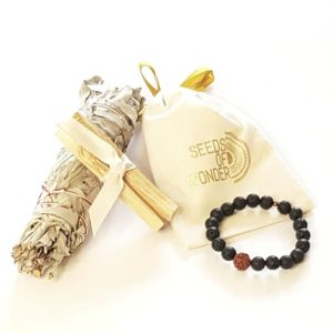 For Him Gift Box lava bracelet, smudge stick and palo santo